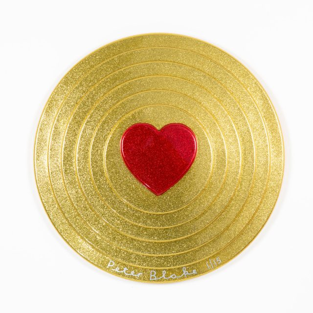 Peter Blake Red heart on gold metal flake
